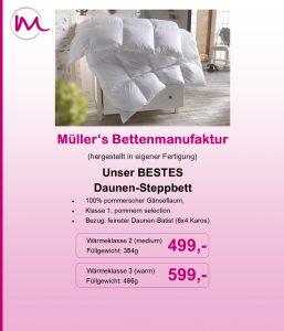 besser schlafen mit Daunen-Kassettendecken von Müller
